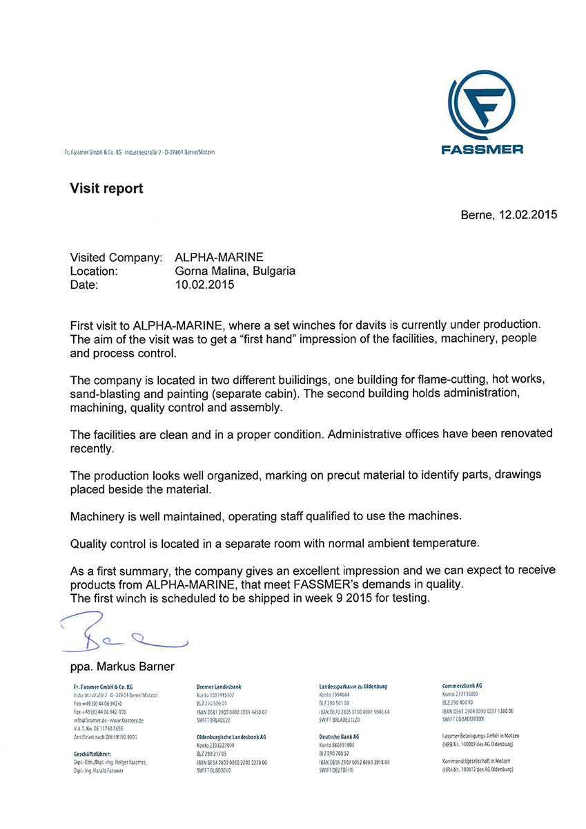 Reference letters for Alpha-Marine GmbH from Fr. Fassmer  GmbH & Co. KG