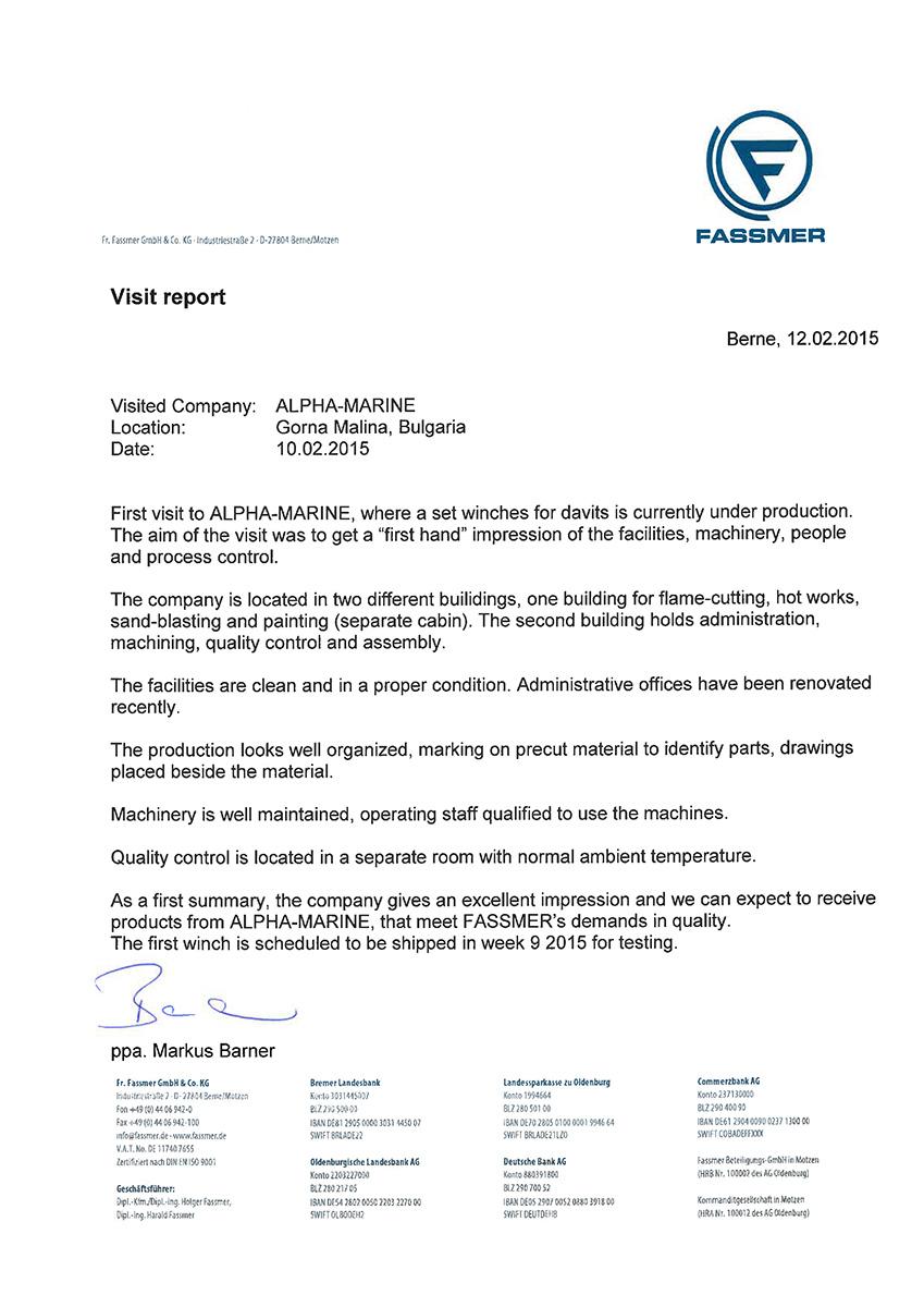 Referenz für Alpha-Marine GmbH von Fr. Fassmer GmbH & Co. KG