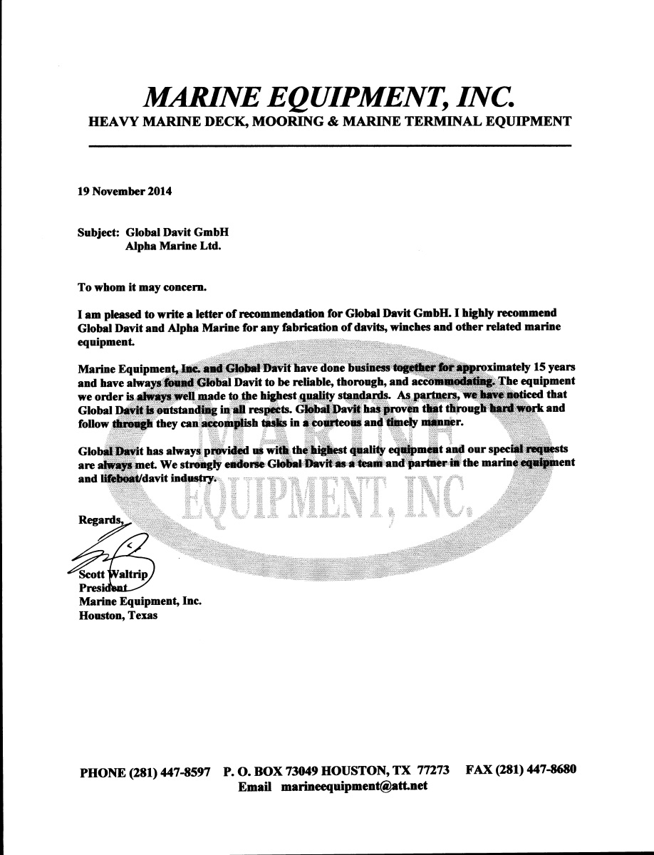 Reference letters for Alpha-Marine GmbH from Marine Equipment INC
