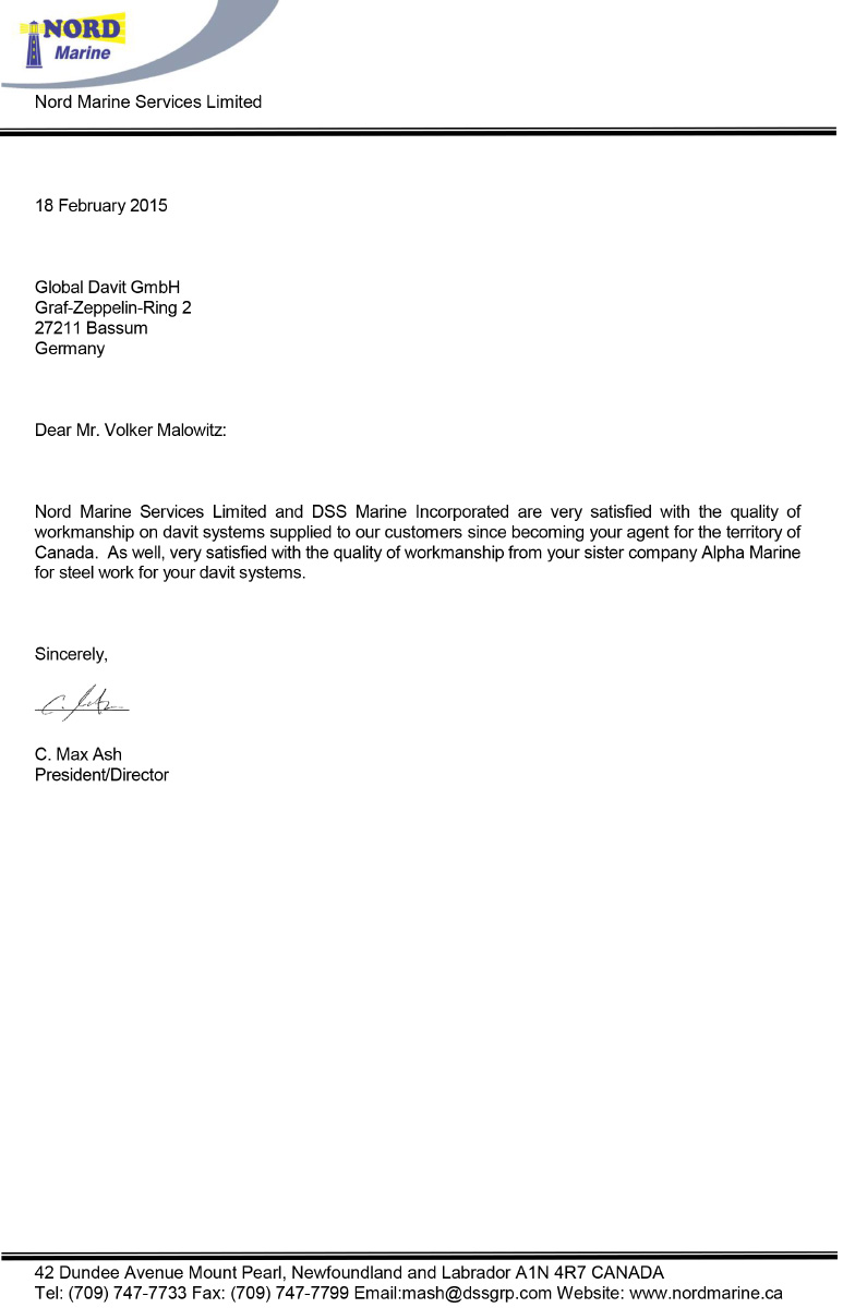 Reference letters for Alpha-Marine GmbH from NORD Marine Services Limited