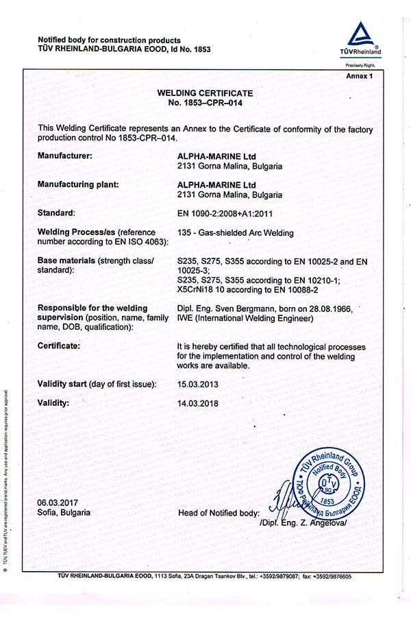 Welding certificate Germanischer Lloyd